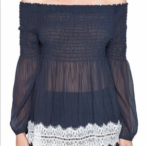 Willow & Clay Off The Shoulder Top New  Midnight